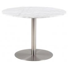 Stół do jadalni Corby 105 cm biały marmur/chrom