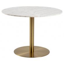 Stół do jadalni Corby 80x75 cm biały marmur/mosiądz