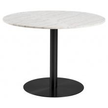 Stół do jadalni Corby 105 cm biały marmur/czarny