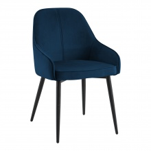 Krzesło welurowe z podłokietnikami Buno granatowe/czarne