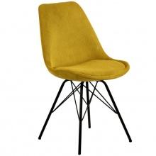 Krzesło do jadalni Eris żółte sztruks