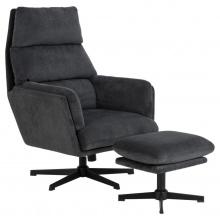 Fotel z podnóżkiem Amsterdam antracytowy/czarne nogi