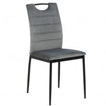 Krzesło do jadalni Dia jasnoszare welurowe