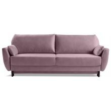 Sofa rozkładana Landeno z pojemnikiem welurowa różowa