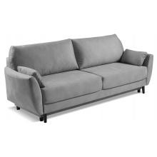 Sofa rozkładana Landeno z pojemnikiem welurowa szara