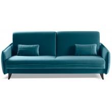Sofa rozkładana Conte z pojemnikiem welurowa turkusowa