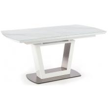 Stół rozkładany Blanco 160-200 cm biały efekt marmuru szklany blat