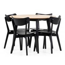 Zestaw stołowy Roxby dąb/czarny stół i cztery krzesła