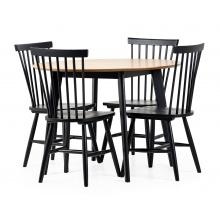Zestaw stołowy Roxby dąb/czarny stół i cztery krzesła patyczak edgardo