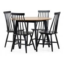 Zestaw stołowy Roxby dąb/czarny stół i cztery krzesła patyczak