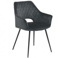 Krzesło do jadalni Felina welurowe ciemnoszare