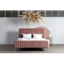 Łóżko tapicerowane z wysokim zagłówkiem Lana 180x200 brudny róż różowe welur złote nóżki ze stelażem - kopia