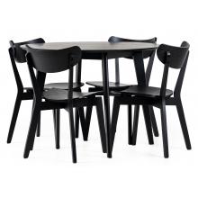 Zestaw stołowy Roxby czarny stół i cztery krzesła