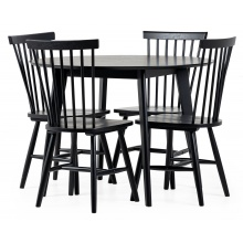 Zestaw stołowy Roxby czarny stół i cztery krzesła Edgardo