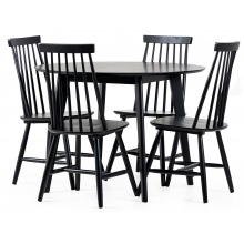 Zestaw stołowy Roxby czarny stół i cztery krzesła patyczak