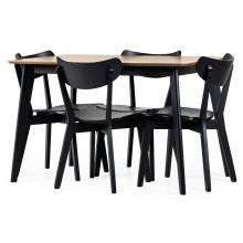 Zestaw stołowy Roxby 120 dąb/czarny stół + 4 krzesła