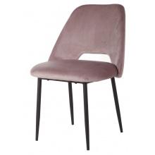 Krzesło z wycięciem Luizi welurowe brudny róż/czarne nogi