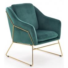 Fotel welurowy Soft 3 zielony/złoty