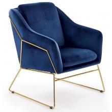Fotel welurowy Soft 3 granatowy/złoty
