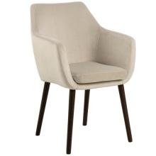 Krzesło do jadalni Nora welurowe jasnobeżowe