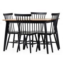 Zestaw stołowy Roxby 120 dąb/czarny stół + cztery krzesła patyczak edgardo
