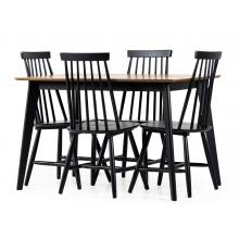 Zestaw stołowy Roxby 120 dąb/czarny stół + cztery krzesła patyczak