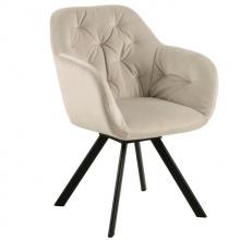 Krzesło z podłokietnikami Lola pikowane jasnobeżowe welur auto return