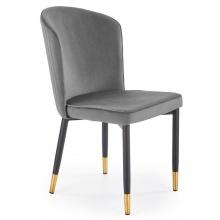 Krzesło welurowe K446 szare ze złotymi wstawkami