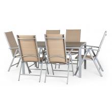 Aluminiowy zestaw ogrodowy stół + 6 krzeseł Dizu II beżowy tworzywo