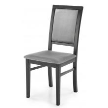 Krzesło drewniane Sylwek szare/czarne welur