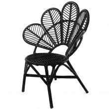 Fotel rattanowy stokrotka Daisy z poduszką rattan czarny handmade boho