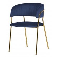 Krzesło welurowe Imogen granatowe/złote nogi