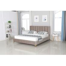Łóżko tapicerowane ze stelażem Dreamer 2.0 180x200 szare welur złote nóżki