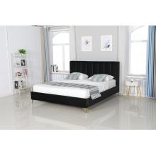Łóżko tapicerowane ze stelażem Dreamer 2.0 180x200 czarne welur złote nóżki