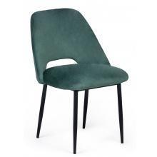 Krzesło z wycięciem Luizi welurowe butelkowa zieleń/czarne nogi
