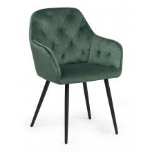 Krzesło z podłokietnikami Richi butelkowa zieleń pikowane oparcie