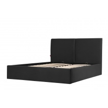 Łóżko tapicerowane ze stelażem Hold 160x200 z pojemnikiem czarne welur