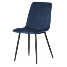 Krzesło z przeszyciami Slay granatowe welurowe