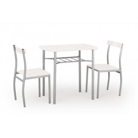 Stół do jadalni Lance + 2 krzesła biały