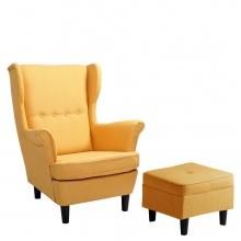 Fotel Uszak Alex z podnóżkiem, żółty