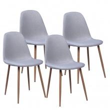 Krzesła Nord, jasnoszare, tapicerka, komplet 4 sztuki