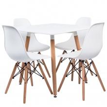 Zestaw stół kwadratowy Hvit i cztery krzesła Ego