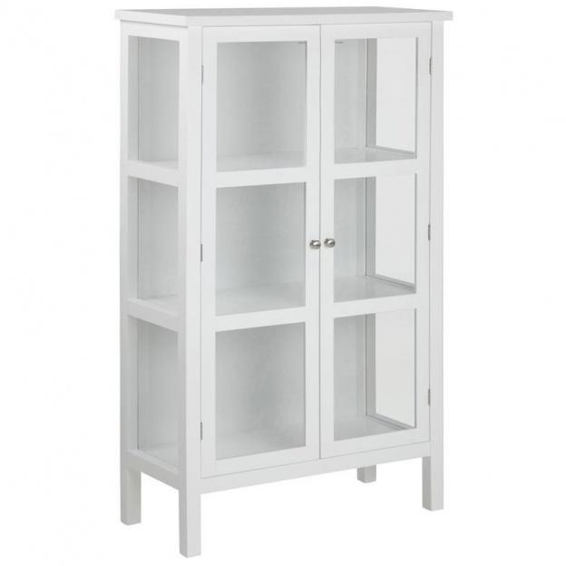 Witryna stojąca Eton szklana biała