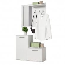 Garderoba z wieszakami i lustrem Timo biała