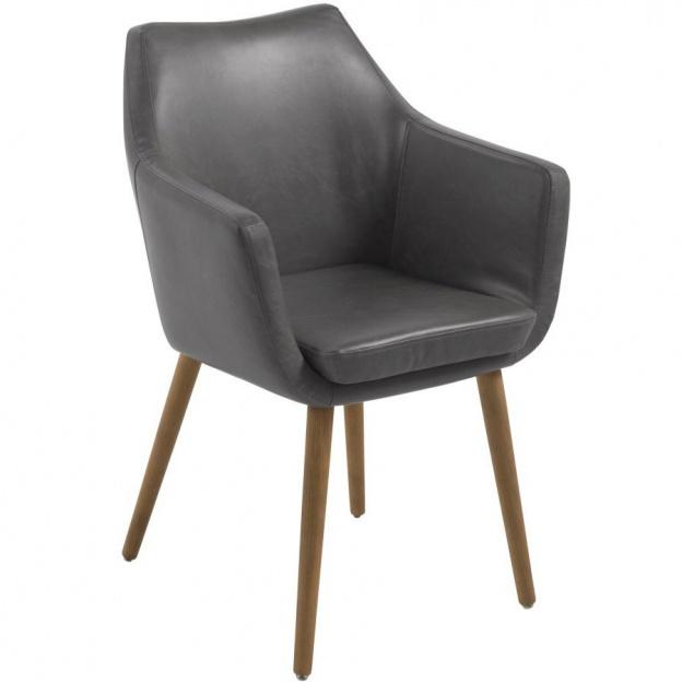 Krzesło Z Podłokietnikami Neira Szare Vintage Tapicerowane