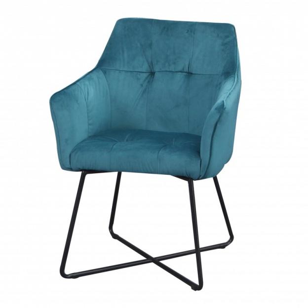 Krzesło Loft turkusowe welur