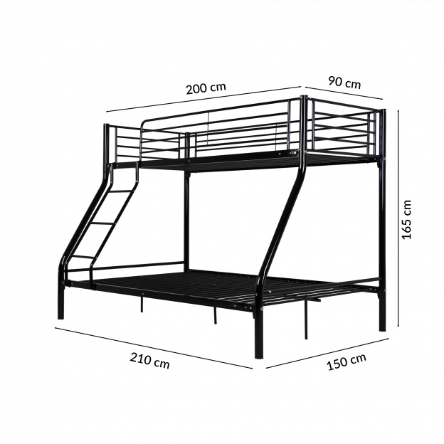 łóżko Piętrowe Metalowe Teofil Czarne