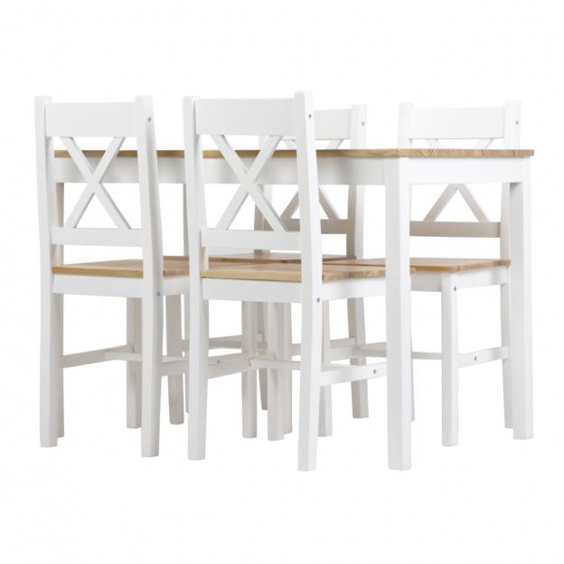 Zestaw Stołowy Corbin Ii Stół I Cztery Krzesła Biały