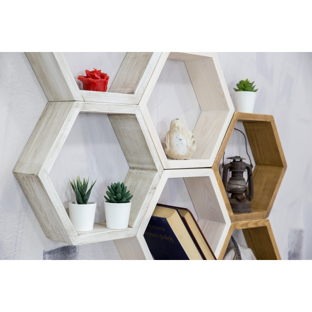 Półka Plaster Miodu Cevilo Drewniana