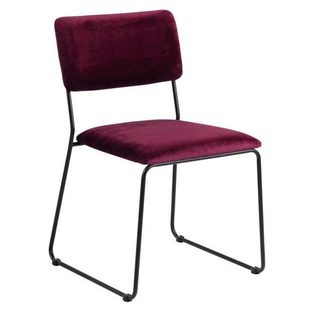 Krzesło nowoczesne Cornelia bordowe welur
